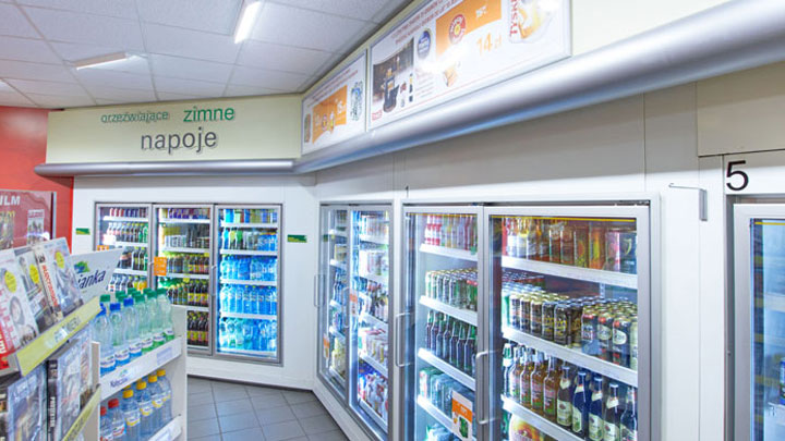 Coolers in the shop of BP petrol station at Krakow, Poland