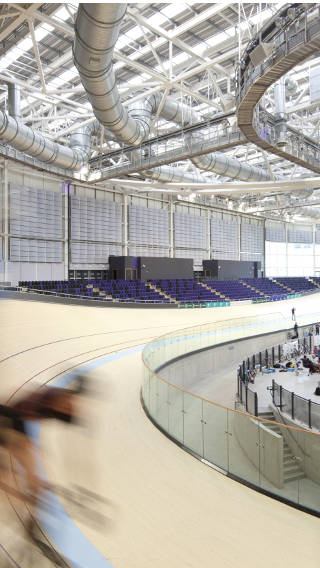 Bikers riding at Emirates Arena, UK, lit by Philips Sports Lighting solutions