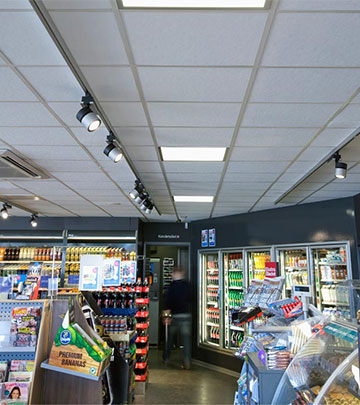 Multiple Philips LED gas station lighting products help save energy at Q8 Qvik to go in Copenhagen