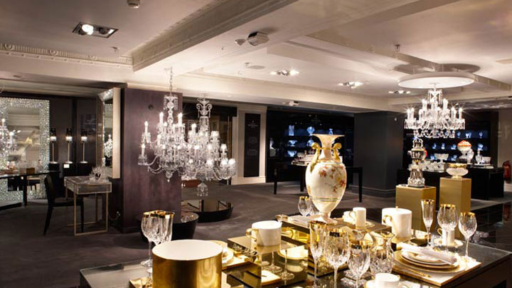 Nicely lit products with Philips retail lighting and Philips lamps suitable for chandeliers at Harrods, UK