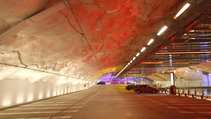 The different coloured lights in P-Hämppi parking garage help drivers remember where they parked their car