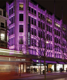 British department store House of Fraser in London displays façade lighting