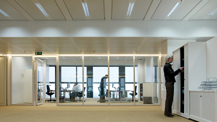 Office area lit with Philips dynamic lighting