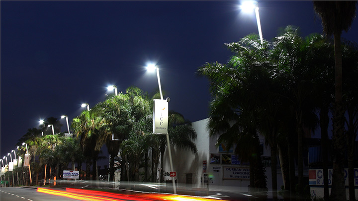 Car passing under the new LED street lights in Durban
