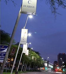 Philips Iridium LED-street lights illuminating the streets in Durban.