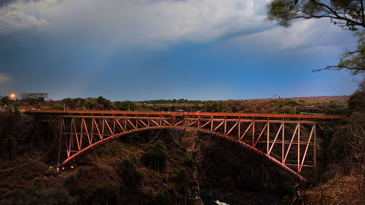 Victoria Falls Bridge during the day before being lit by Philips Color Kinetics lighting