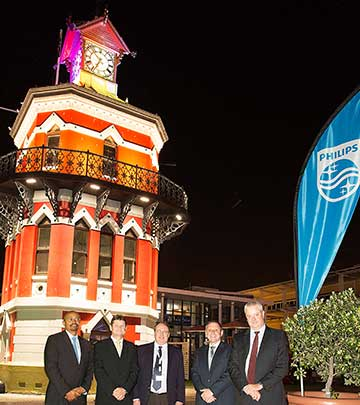 The stately octagonal Victorian, Gothic-style Clock Tower built in 1883 and is now brought back to life with Philips Lighting.