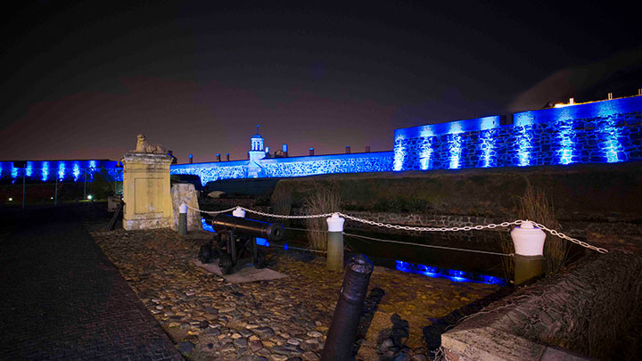 Castle of Good Hope lit in blue.